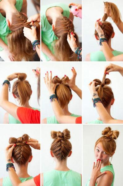Как сделать бант из волос на голове Основные методы и способы 2