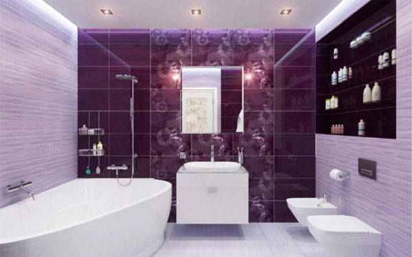 Фиолетовый цвет, как украсить ванную комнату в этом цвете 2