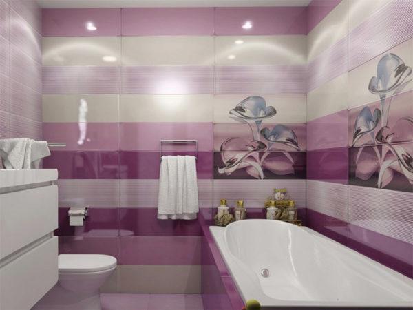 Фиолетовый цвет, как украсить ванную комнату в этом цвете 3