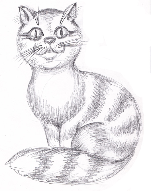 Чёрно-белые рисунки и картинки кошек, котиков - коллекция 2