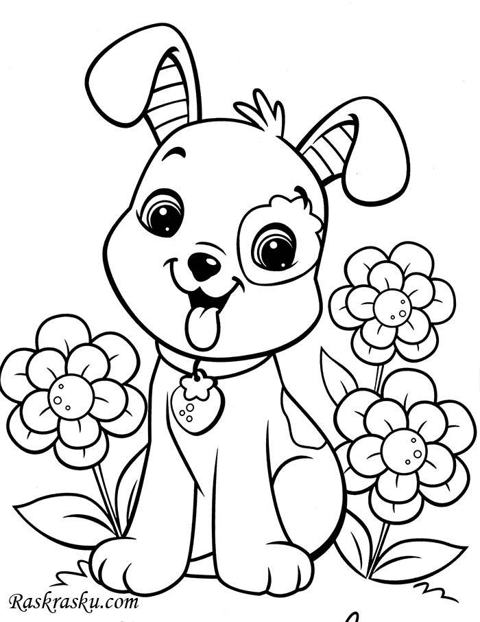 Красивые щенки раскраски для девочек и мальчиков - подборка 6
