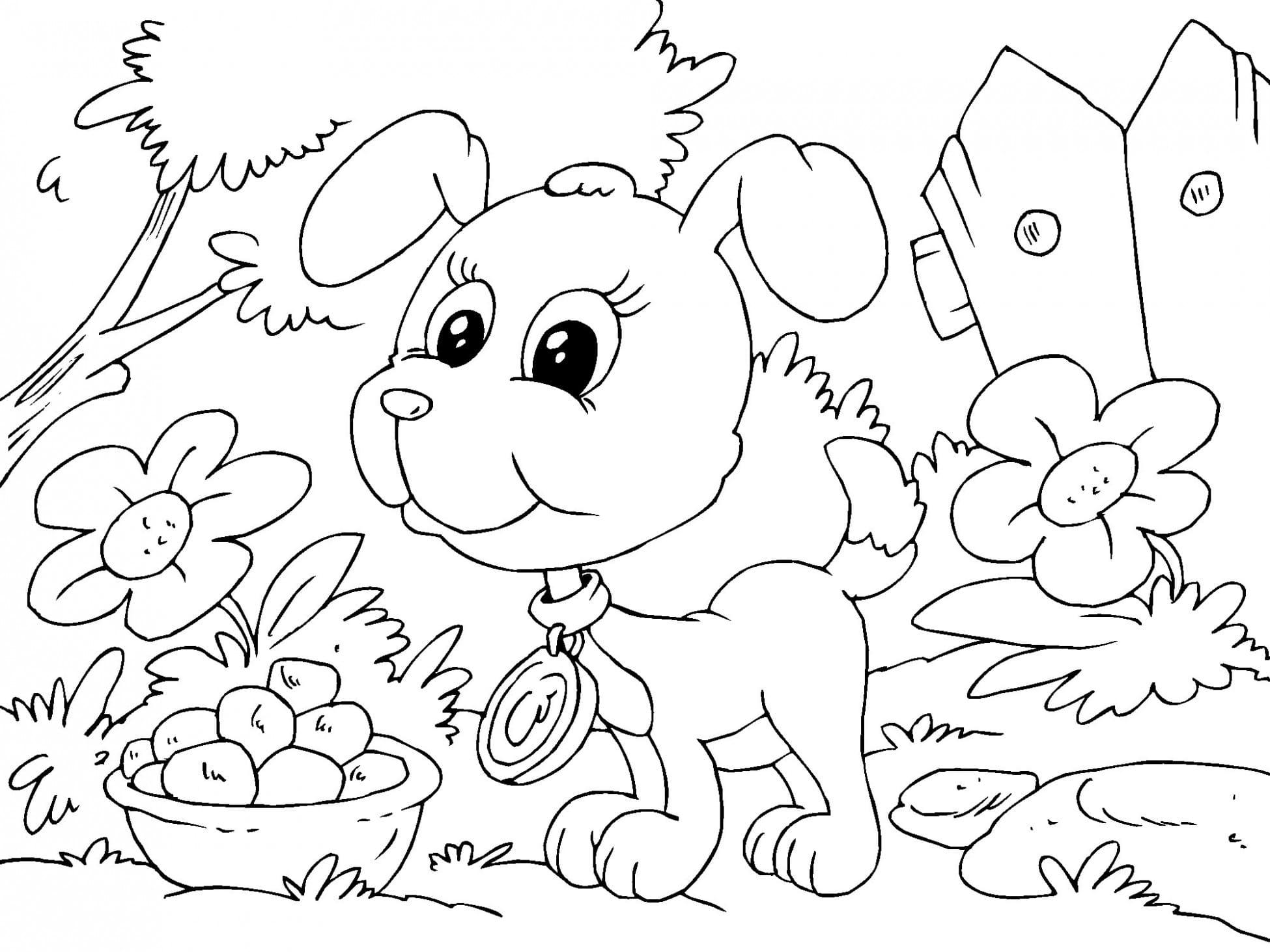 Красивые щенки раскраски для девочек и мальчиков - подборка 12