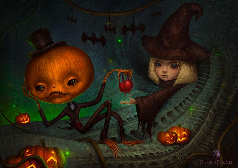 Прикольные картинки, арты про Хеллоуин - красивая подборка 1