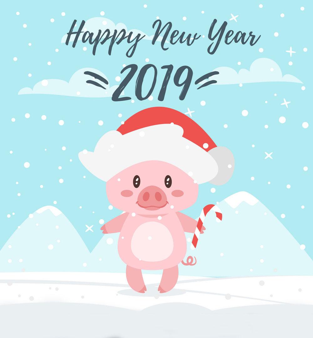 Красивые картинки с Новым годом свиньи 2019 - поздравления 4