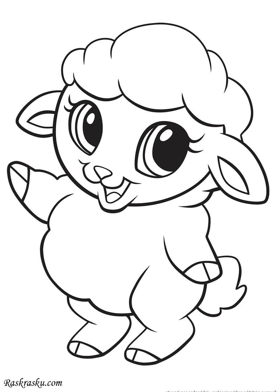Простые раскраски животных для детей и малышей 3