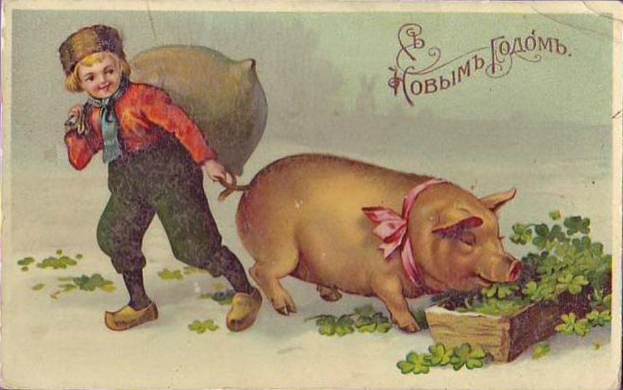 Красивые картинки с Новым годом свиньи 2019 - поздравления 5