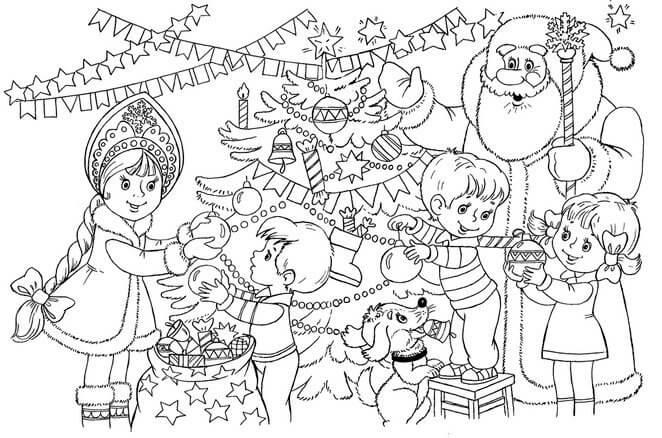 Картинки и рисунки новогодней елки для детей - подборка 4