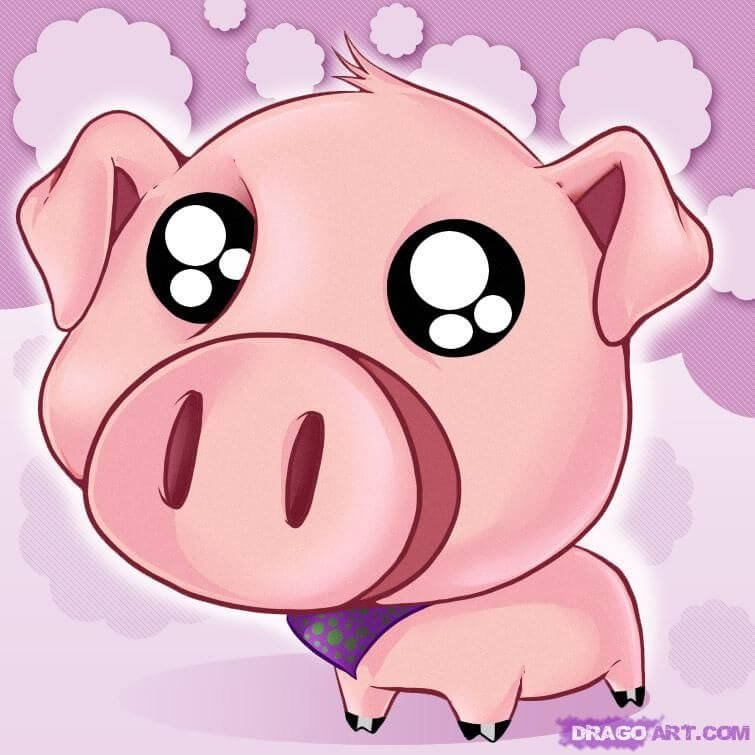 Прикольные картинки свиньи для срисовки - подборка 10