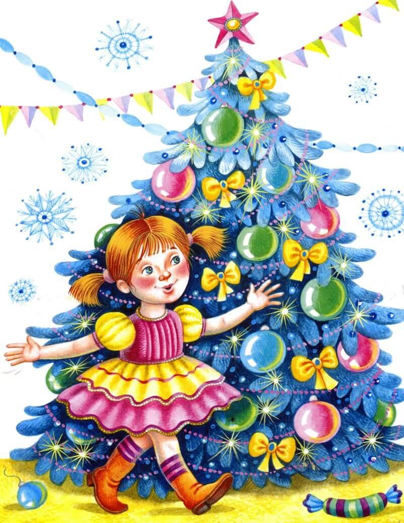 Картинки и рисунки новогодней елки для детей - подборка 10