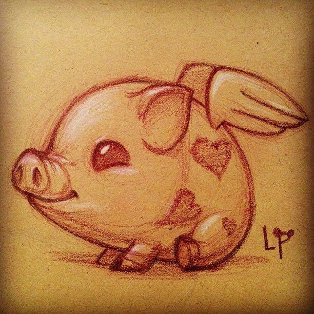 Прикольные картинки свиньи для срисовки - подборка 12