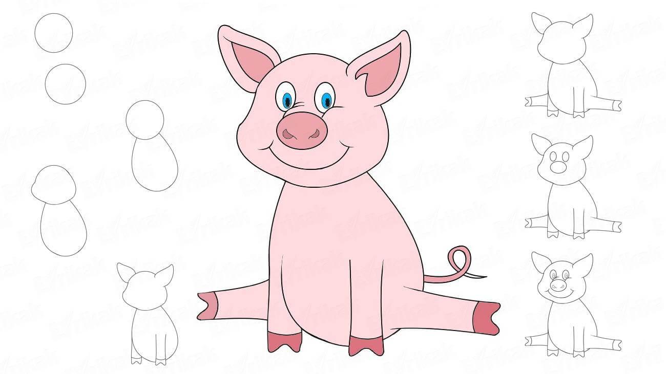 Прикольные картинки свиньи для срисовки - подборка 17