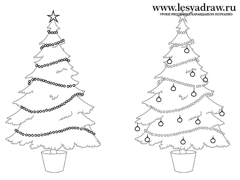 Картинки и рисунки новогодней елки для детей - подборка 6