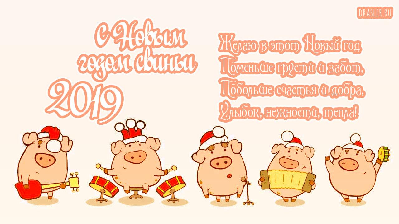 Красивые картинки с Новым годом свиньи 2019 - поздравления 13