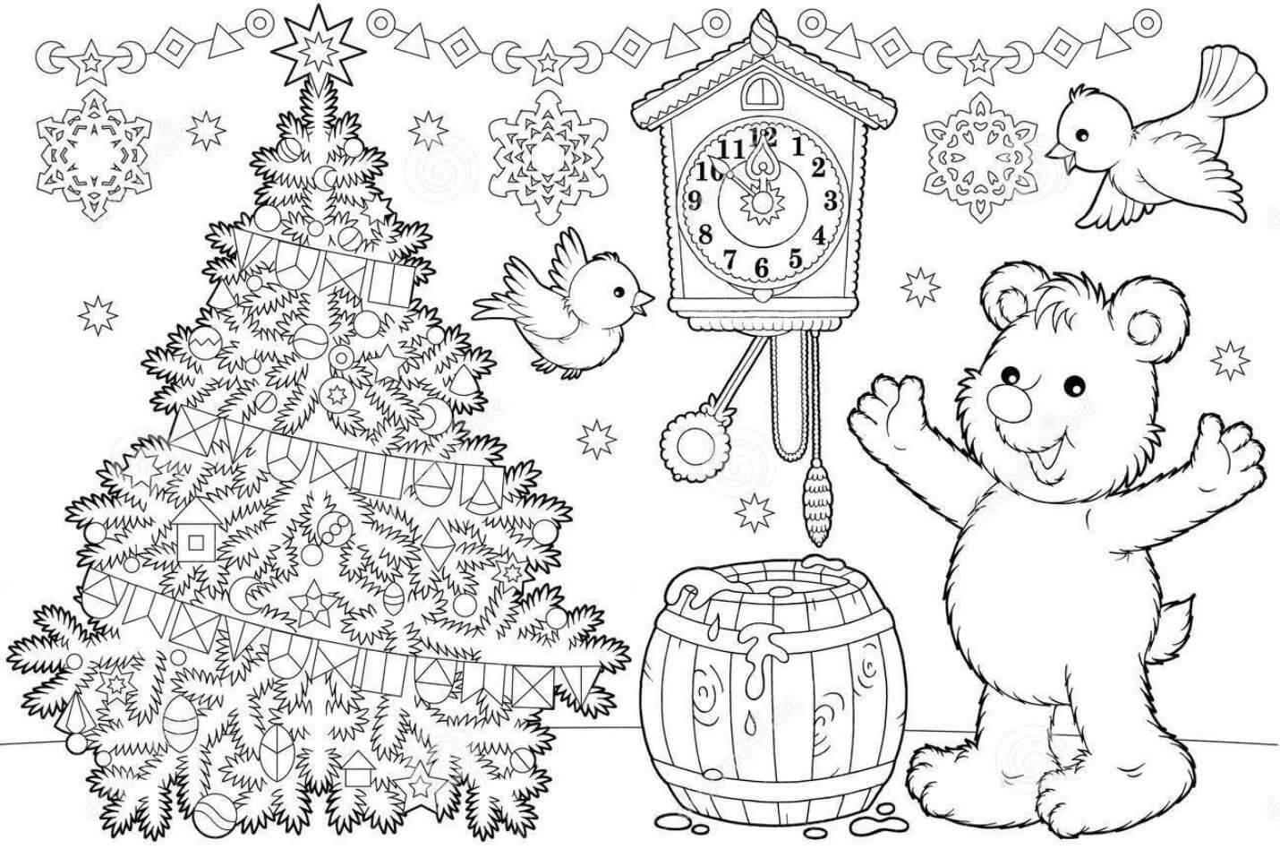Новый год 2019 картинки для срисовки и рисования - сборка (19 картинок) 13