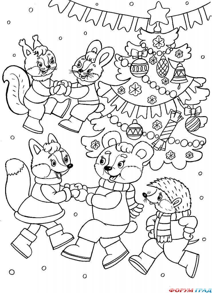 Новый год 2019 картинки для срисовки и рисования - сборка (19 картинок) 14
