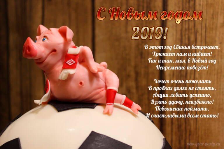 Картинки и открытки поздравления с Новым годом свиньи 2019 15
