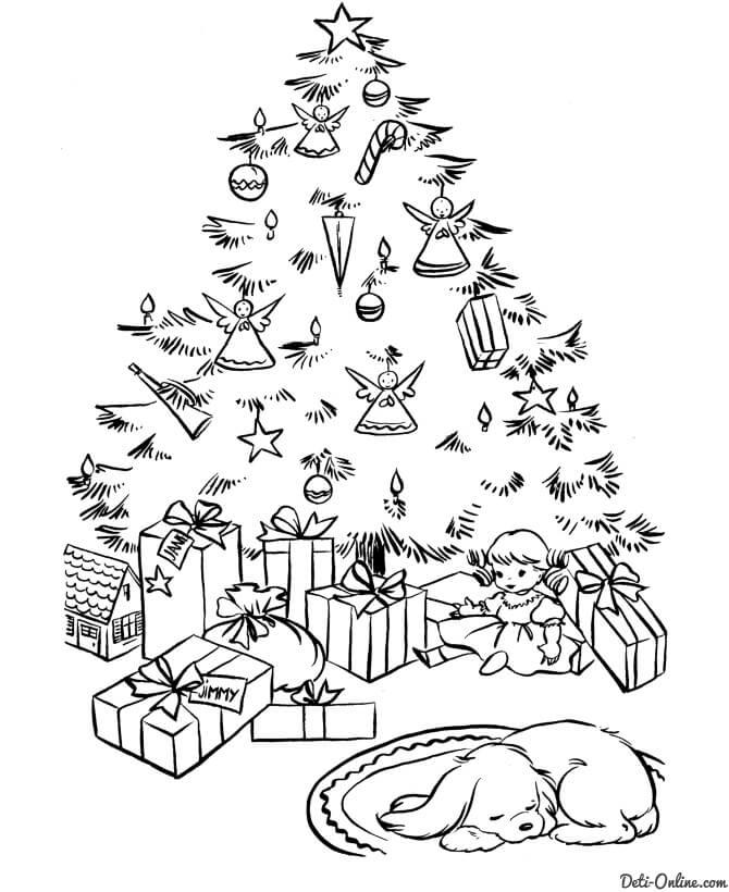 Картинки и рисунки новогодней елки для детей - подборка 15