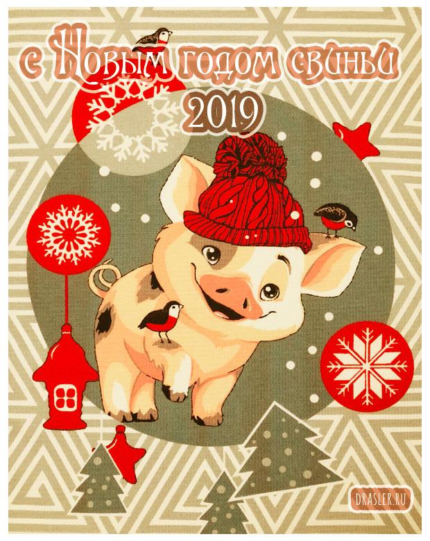 Красивые картинки с Новым годом свиньи 2019 - поздравления 20