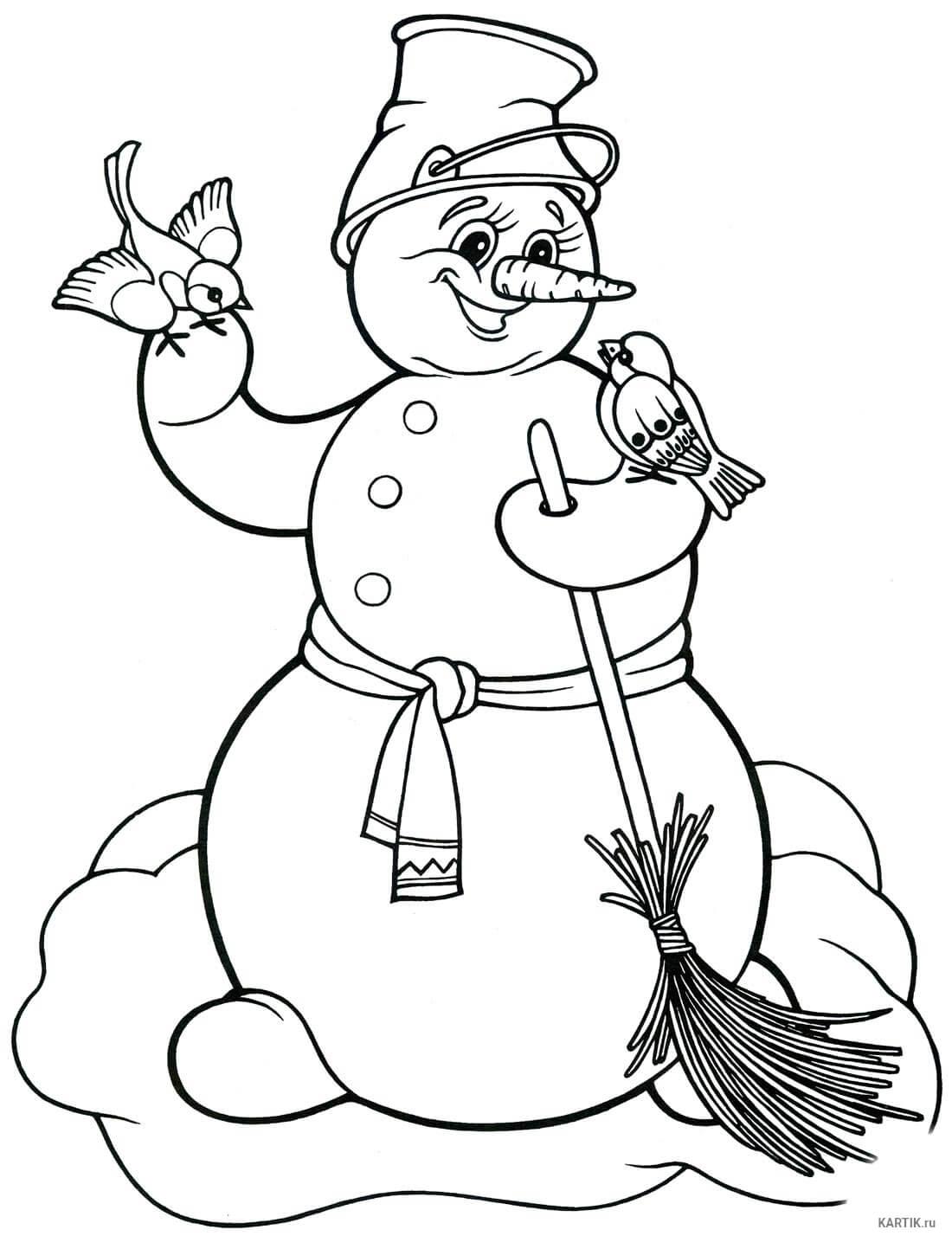Лучшие картинки рисунки снеговиков для срисовки - коллекция 12