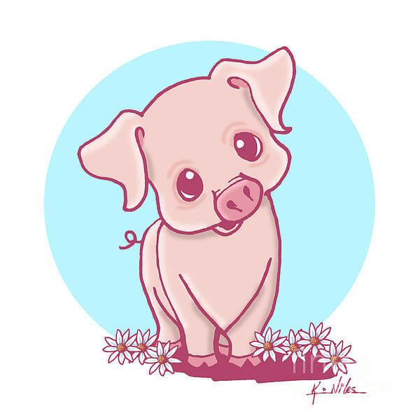 Прикольные картинки свиньи для срисовки - подборка 25