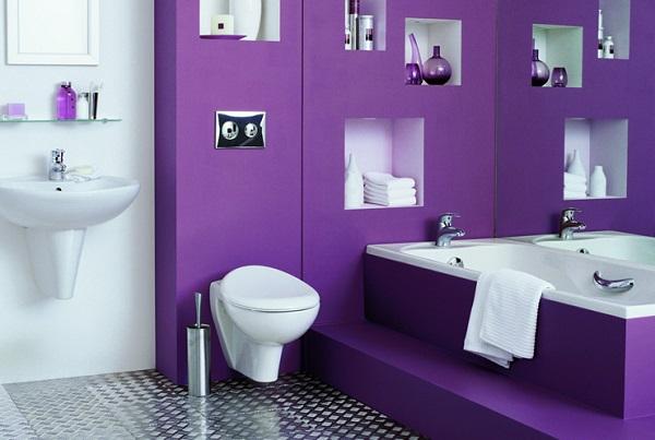 Фиолетовый цвет, как украсить ванную комнату в этом цвете 1