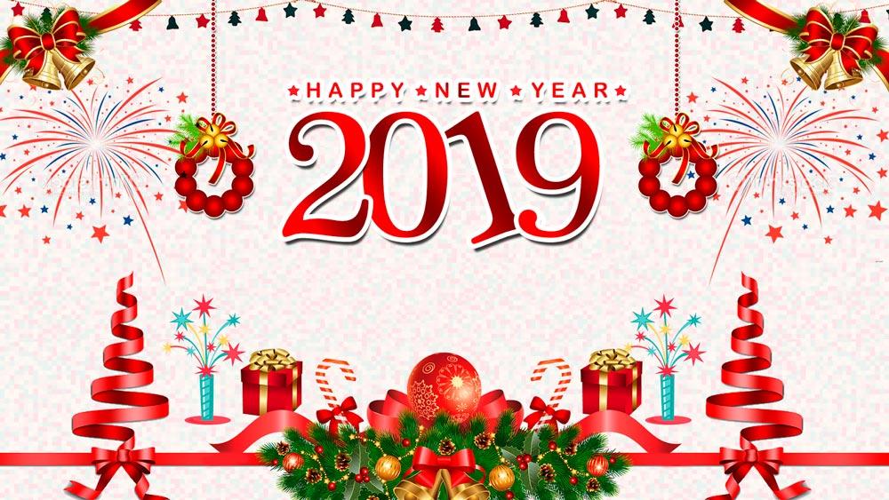 Анимации, новогодняя картинка с надписью с новым годом 2019