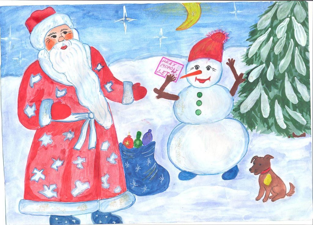 Рисунок новогодней открытки детские