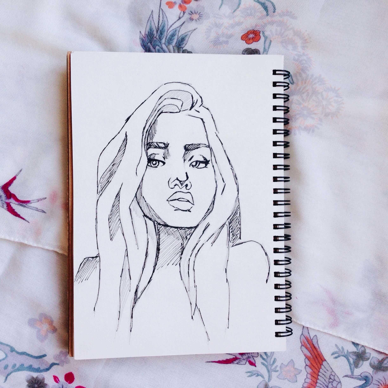 Фото прикольных рисунков для срисовки в скетчбук девушки, днем