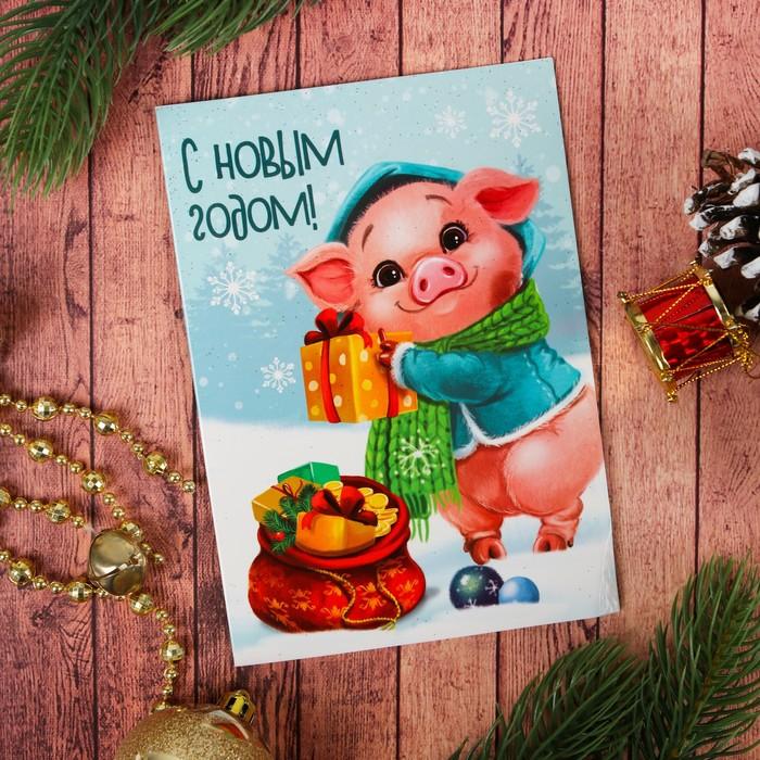 Красивая открытка с новым годом свиньи, днем пожилого человека