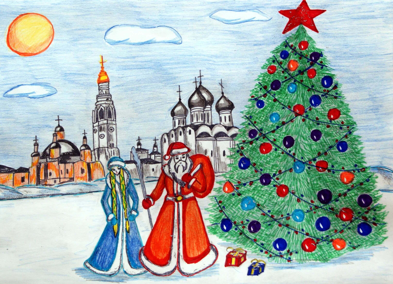Годика, рисунок новогодней открытки детские