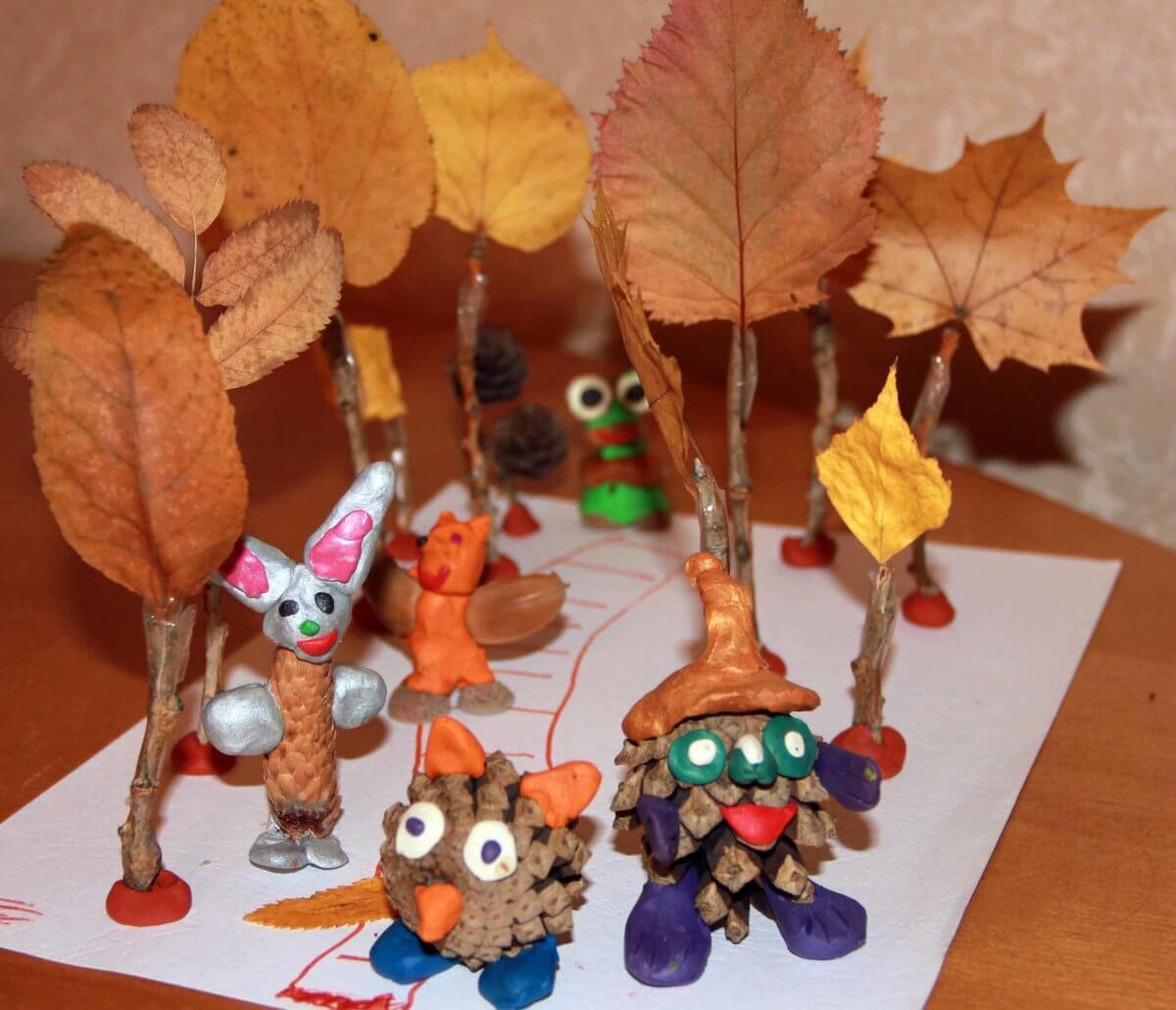 Поделки из природного материала на тему осень для детского сада 15