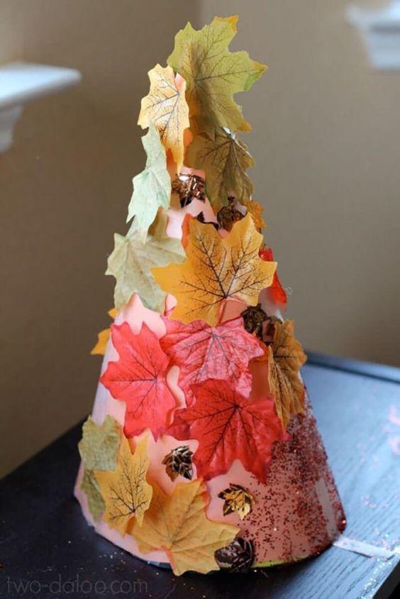 Аппликации из листьев на тему осень   сборка (18 картинок) (15)