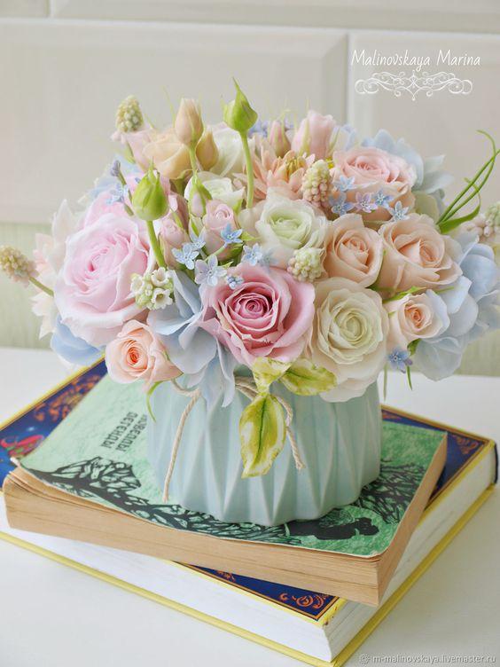 Букеты в корзине из живых цветов фото (13)
