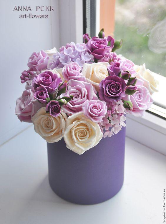 Букеты в корзине из живых цветов фото (18)