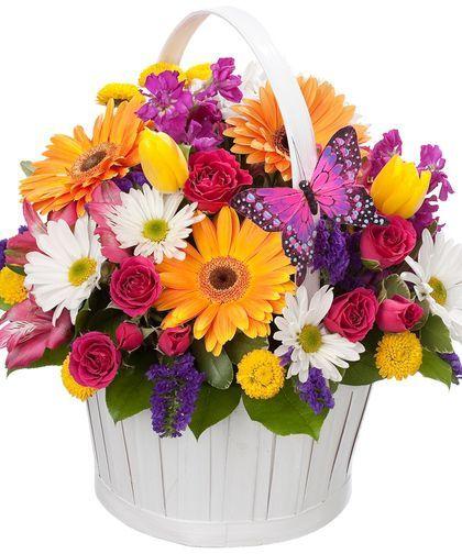 Букеты в корзине из живых цветов фото (2)