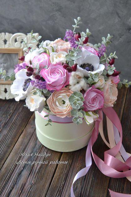 Букеты в корзине из живых цветов фото (3)