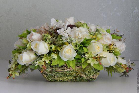 Букеты в корзине из живых цветов фото (6)