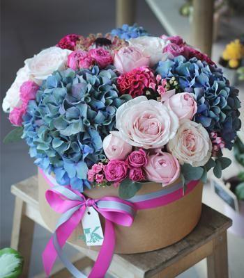 Букеты в корзине из живых цветов фото (7)