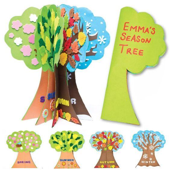 Времена года дерево   красивые поделки и рисунки для детей (16)