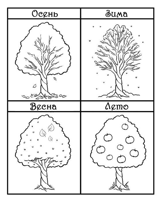 Времена года дерево   красивые поделки и рисунки для детей (17)