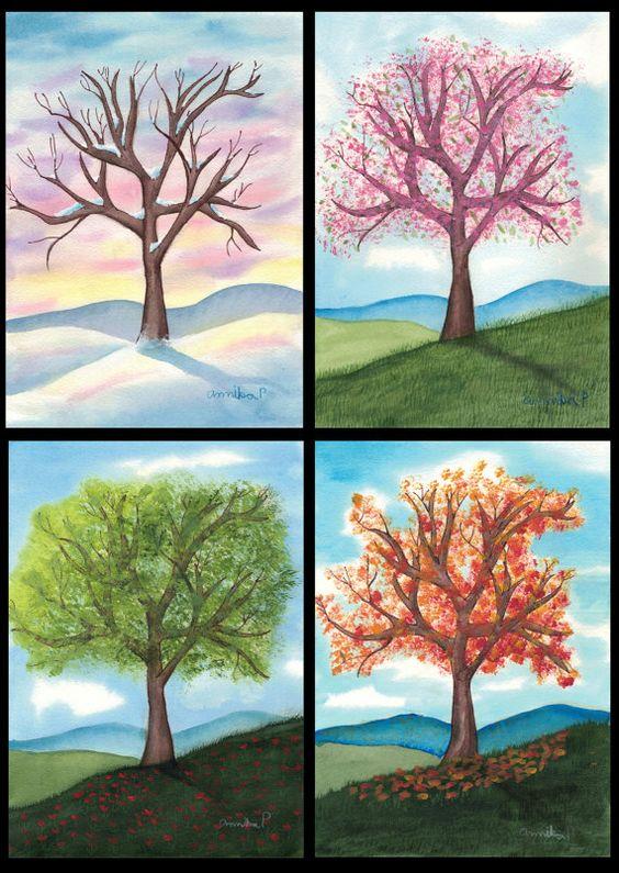Времена года дерево   красивые поделки и рисунки для детей (27)