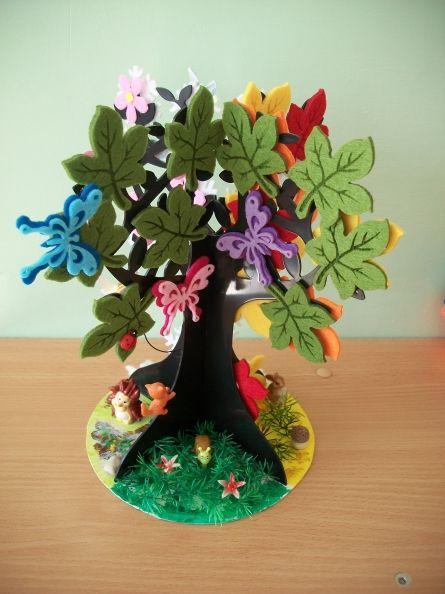 Времена года дерево   красивые поделки и рисунки для детей (9)