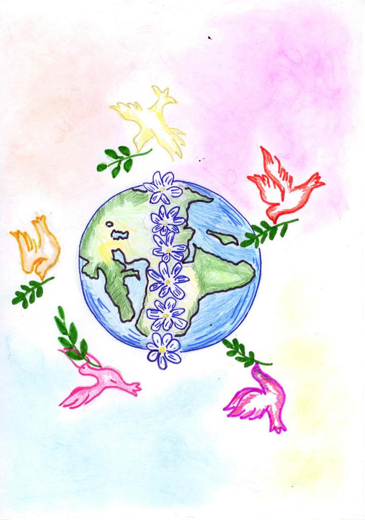 По-английски, рисунок за мир во всем мире