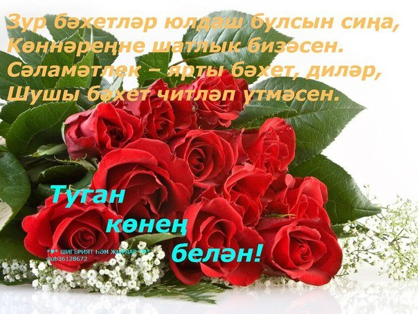 Поздравления с днем рождения на татарском языке в картинках для