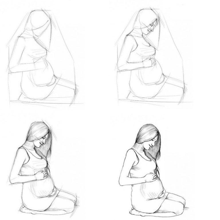 Картинки рисовать поэтапно для девочек, две сестры младшая