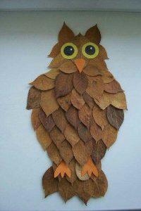 Поделка сова из листьев   милая подборка (24 картинки) (19)
