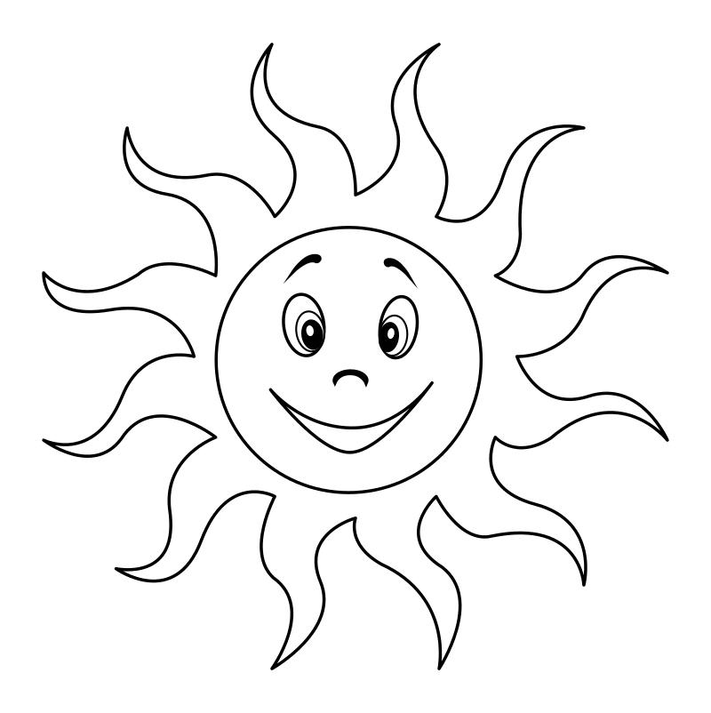 Черно-белое картинка солнышко с лучиками