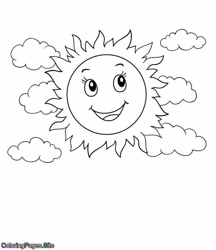 Солнце картинка для детей раскраска