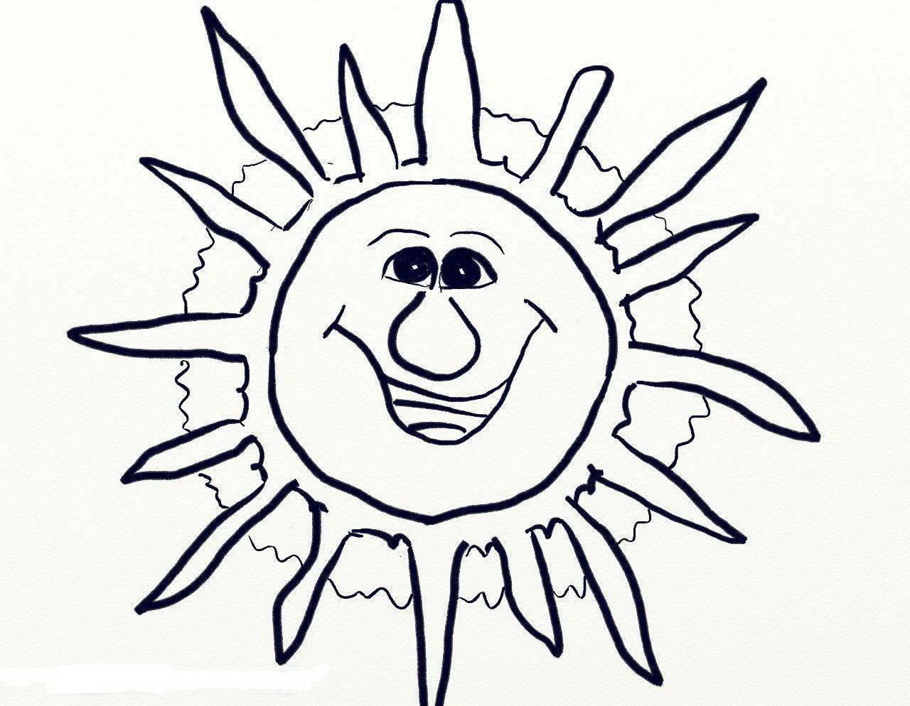 Солнце картинки для детей раскраска