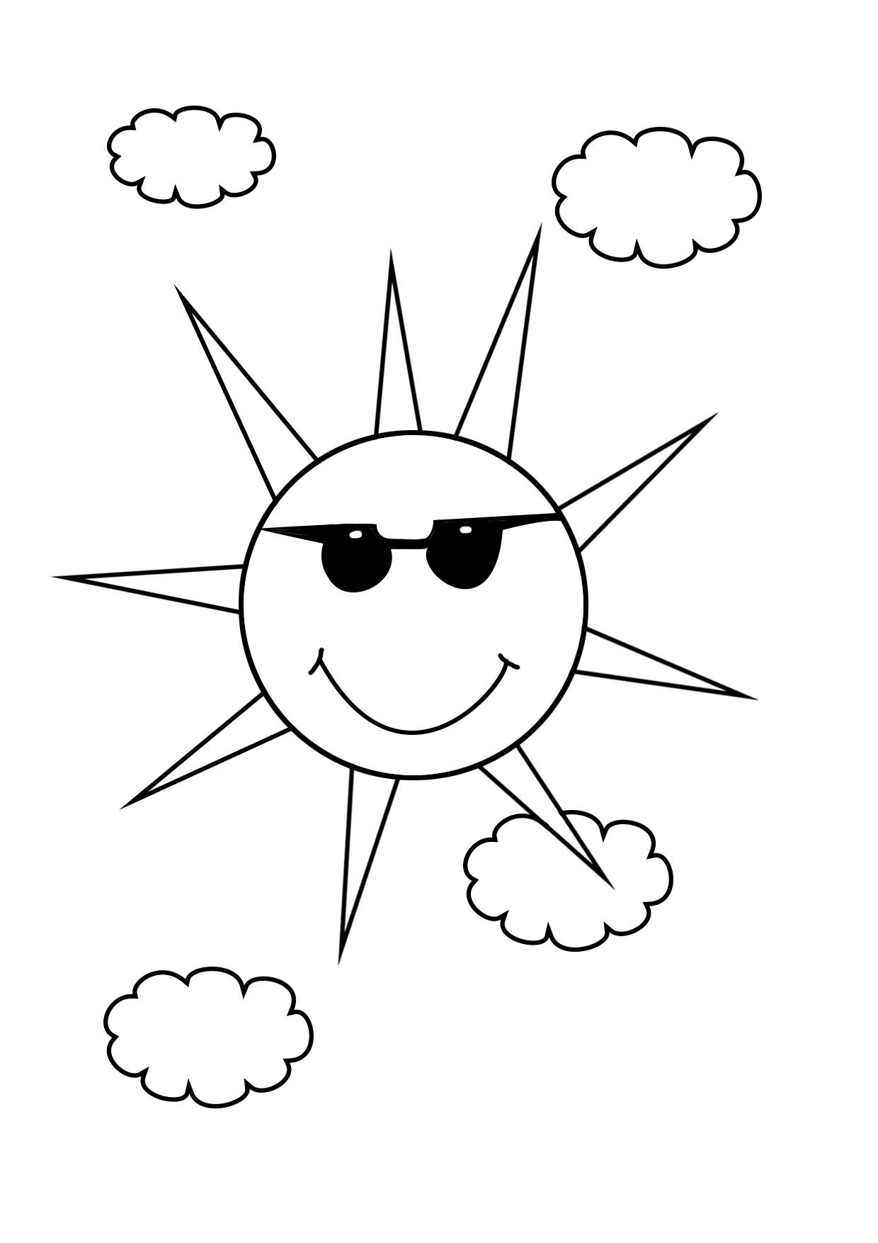 Раскраска солнышко улыбается с лучиками